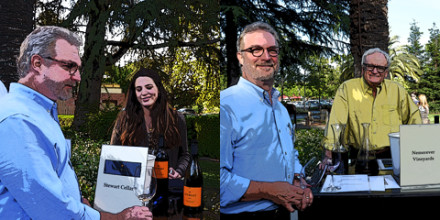 "Caroline Guthrie of Stewart Cellars and William Nemerever of Nemerever Vineyards pour wine for WineSnark at Congressman Mike Thompson's ""Emerging Winemakers"" tasting."