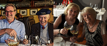"WineSnark enjoys a laugh with nonagenarian Miljenko ""Mike"" Grgich and Mrs. Snark toasts our good fortune with the remarkable Margrit Mondavi."