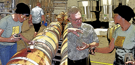 Before racking, winemaker Victoria Coleman takes samples from barrels of 2013 Van Dyk Family Cabernet Sauvignon while I ask a lot of nettlesome questions.