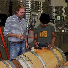 Bob Van Dyk & Victoria Coleman Racking Barrels