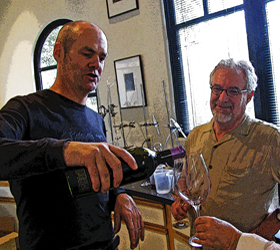 "Aaron Pott pours 2009 Pott Wine ""The Oligarch"" for Wine Snark in his lab at Quixote Winery."