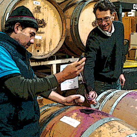 May barrel sampling with winemaker Miguel Caratachea and Punch proprietor Lee Nordlund.