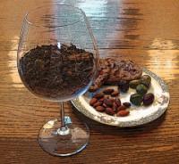 Sediment in wine glass.