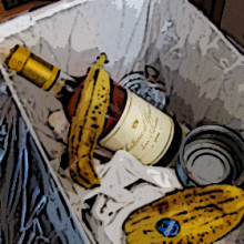 Chateau d'Yquem in garbage can.