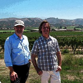WineSnark & Bryan Babcock in the vineyards overlooking the Santa Rita Hills.