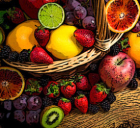 Mix of fresh fruits on wicker bascket