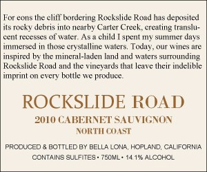 Rockslide Road back label