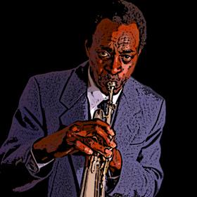 Afroamerikanischer Jazzmusiker mit Flügelhorn