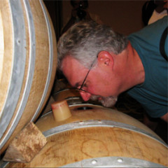 While visiting Chateau Cantenac in St.-Emilion, our host Johan Roskam-Brunot challenged me to identify the lone Hungarian oak barrel hidden among the French barrels by smell alone.