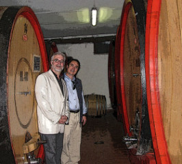 Surrounded by botti with Filippo Fedriani at Marchesato degli Aleramici in Montalcino.
